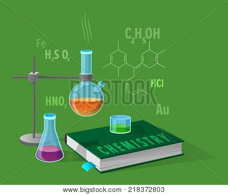 Chemistry class isolated illustration on green. Cartoon style glass lab flasks with liquids of different colors, school textbook and chemical elements
