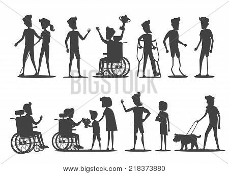 People with disabilities vector illustration. Silhouettes of humans on wheelchairs or on prostheses walking, winning, accepts congratulations