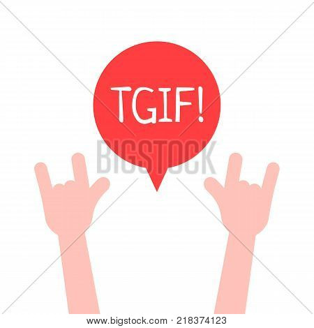hands up with tgif logo like thanks god it is friday. unusual flat style trend modern graphic design on white. concept of happy alcohol party with friends or satisfy harmful desires on week end