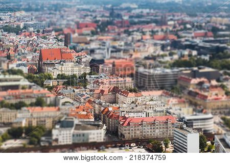 Panorama of the old town Wroclaw tilt-shift effect
