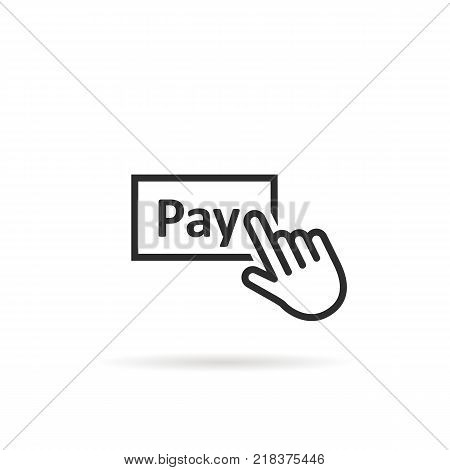 black thin line finger presses on pay button. concept of 24 7 security payment transaction service or linear shopping pictogram. flat style modern logotype graphic art symbol design on white
