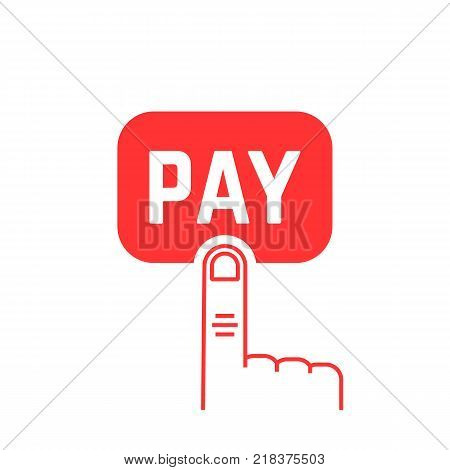 pay button with red thin line finger on white. simple flat style trend modern logotype graphic art symbol design. concept of 24 7 security payment transaction service or linear shopping pictogram