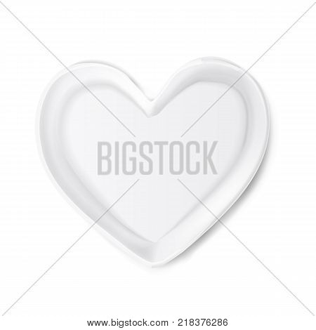 Realistic plate in shape of heart mockup. Valentine's day romantic kitchenware, love and care symbol. Ceramic utensil for holiday evening celebration. Isolated vector illustraiton on white background