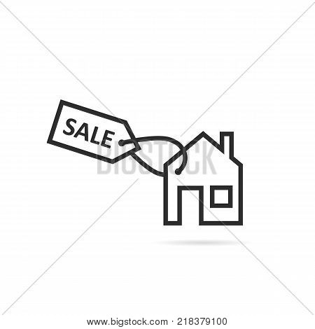 thin line black house icon for sale or rent. linear flat style trend modern logotype graphic art design isolated on white background. concept of landlord property for sold or letting agent brand logo