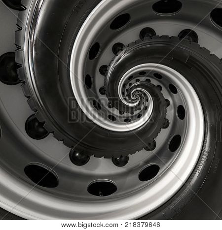Car truck wheel abstract surreal spiral fractal pattern background. Repetitive automobile automotive background. Car wheel abstract pattern background Truck wheel rim abstract pattern swirl background