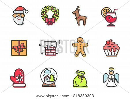 Christmas collection of items, Santa and wreath with bow, reindeer and cocktail, present and chimney, angel and icon of green bag vector illustration