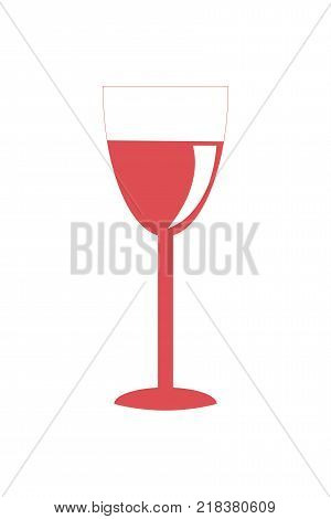 Glass of red wine icon vector illustration isolated on white background. Pictogram of light alcoholic drink in elegant glassware served on Christmas