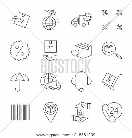Delivery and logistics icons set. Vector logistics line style symbols collection. Editable Stroke. EPS 10