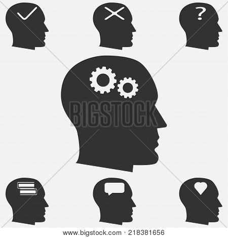 Human head icons. Human thinking icons. Human head with signs of heart, a question mark, the mechanism, the book.