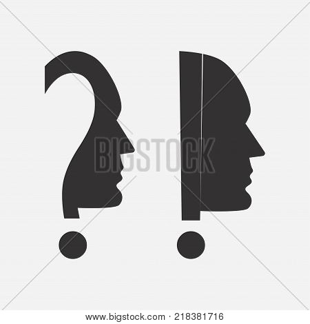 Human head icon with an exclamation and question mark. Vector illustration.