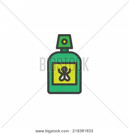 Repellent spray insect filled outline icon, line vector sign, linear colorful pictogram isolated on white. Mosquito repellent symbol, logo illustration. Pixel perfect vector graphics