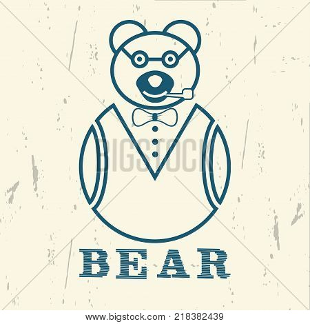 Bear in glasses and with a smoking pipe on a vintage background. Design clothes, t-shirts. Graphics for print. Vector illustration.