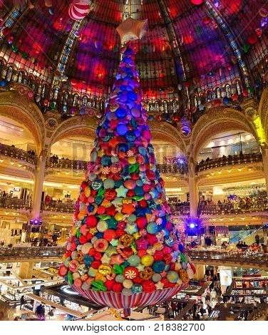 Paris france-December 13 2017: the Christmas decorations at shopping center Galeries Lafayette located boulevard Haussmann in Paris, France.