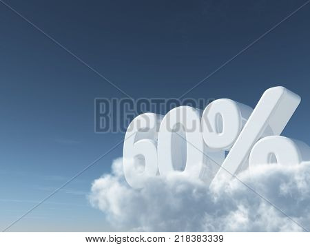 number sixty and percent symbol in the sky - 3d rendering