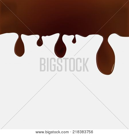 Melted chocolate dripping down. Abstrackt background. Vector illustration.