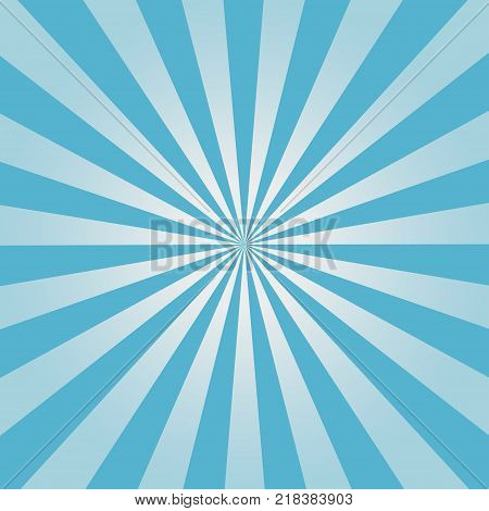 Comic background. Blue Sunburst pattern. Vector illustration.