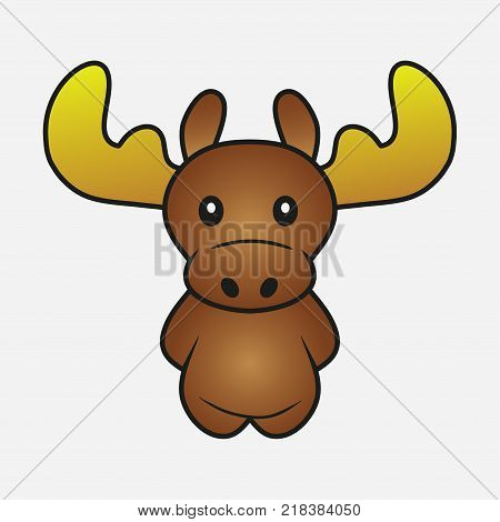 Moose cartoon. Elk. Forest horned animal. Sample for soft toys. Print for clothes, t-shirts. Vector illustration.