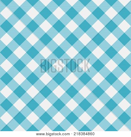 Blue Gingham seamless pattern. Diagonal stripes. Texture from rhombus for plaid, tablecloths, clothes, shirts, dresses, paper, bedding, blankets and other textile products. Vector illustration.