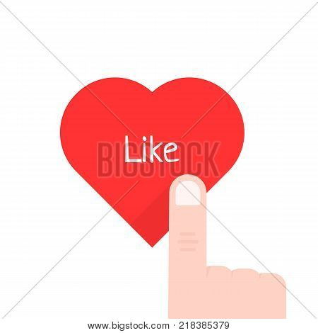finger pressed on red heart button isolated on white. flat style trend modern logo and graphic design symbol. concept of abstract badge for check your favorite content of popular social network