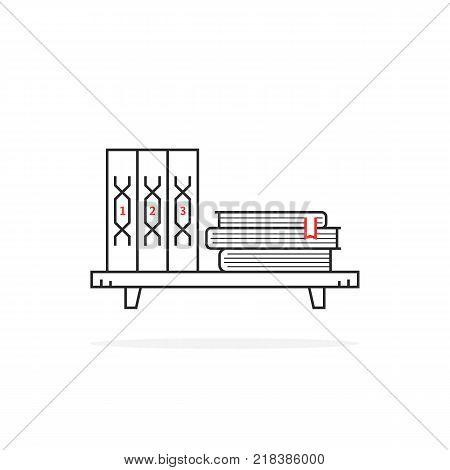simple black thin line book shelf on white. stroke style trend modern logo graphic art design