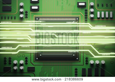 Blue Circuit Board With A Processor Top View