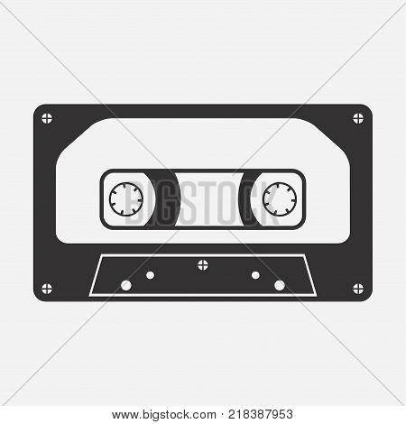 Audio cassette. Audiocassette. Music media. Tape recording. Vector illustration.