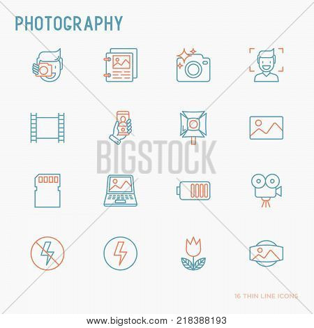 Photography thin line icons set of photographer, film, crop, flash, focus, light, panorama. Vector illustration.