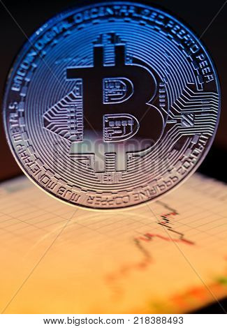 bitcoin close-up with growing trend grath
