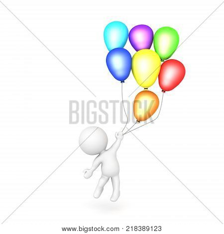 3D Illustration Of Many Colorful Balloons
