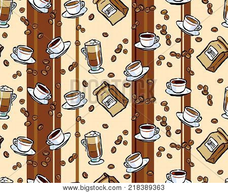 Coffee Stripes seamless background of coffee with stripes