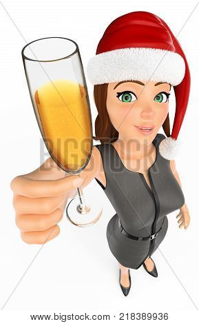 3d business people illustration. Businesswoman with santa claus hat toasting with a glass of champagne. Isolated white background.