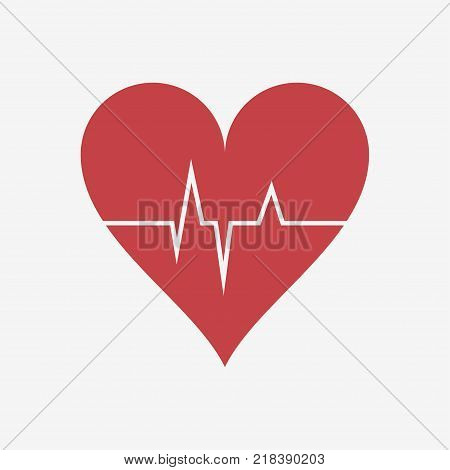 Heartbeat. Heart beat. Cardiogram. Red heart with a pulse stripe. Vector illustration.