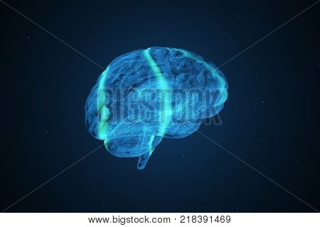 Proper brain work during extreme activity 3d illustration
