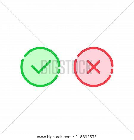 linear check mark icon like tick and cross. concept of approve or disapprove round button and consumer ui. simple flat trend modern logotype thin line graphic illustration design on white background