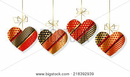 Luxury gold and red decorative heart set. Concept Valentine invitation in boho style. Vector illustration for decoration, header, surface design.