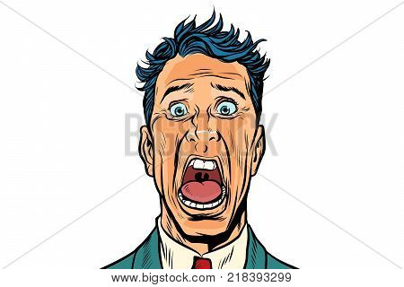 The man screams in horror, isolated on white background. Pop art retro vector illustration