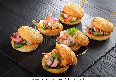 Seafood Burgers Pinned With Bamboo Skewers