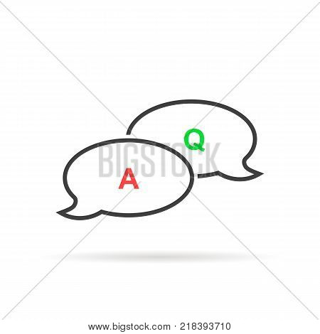 thin line question answer bubble like quiz. concept of brainstorm competition or tv show game. linear flat style trend modern or outline logotype graphic art design isolated on white background