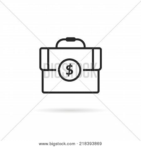 black thin line finance briefcase icon. concept of commerce accounting with dividend or marketing assessment. flat linear style trend modern logotype graphic art design isolated on white background