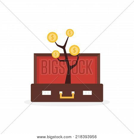 open suitcase with money tree. simple trend modern logo graphic design isolated on white background. concept of personal economy development or growing of commercial start up or credit consulting