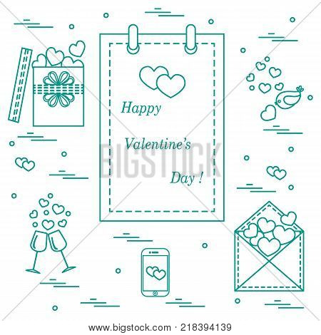 Cute vector illustration: calendar with Valentine's Day, gifts, postal envelope, two stemware, smartphone, birds with hearts. Design for banner, flyer, poster or print.