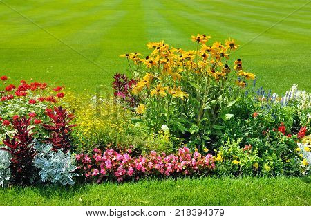 A Summer flower bed and green lawn.