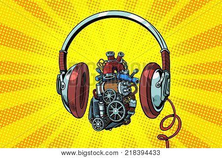 Headphones and steampunk heart motor. Pop art retro vector illustration