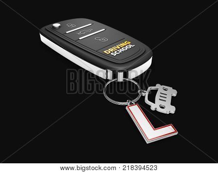 Car key with car and learner driver sign, isolated black, 3d Illustration.