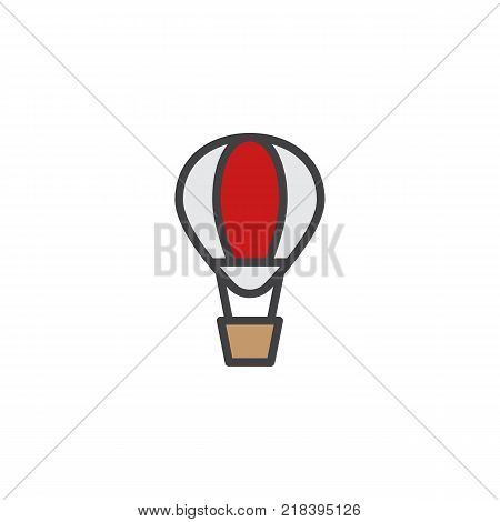 Hot air balloon filled outline icon, line vector sign, linear colorful pictogram isolated on white. Airballoon adventure fly trasnport symbol, logo illustration. Pixel perfect vector graphics