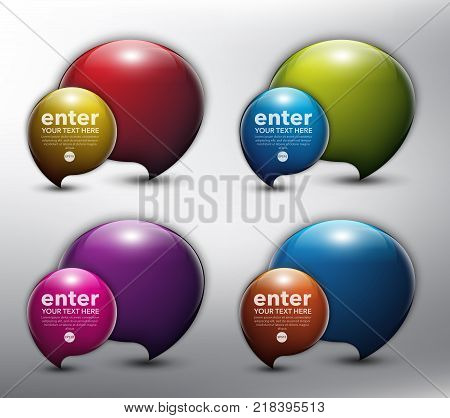 Abstract glossy speech bubbles set of 4. Bubble balloons quote. Isolated with realistic, transparent glass shine and shadow on the light background. Vector illustration. Eps10.