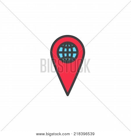 World map pointer filled outline icon, line vector sign, linear colorful pictogram isolated on white. Global location pin symbol, logo illustration. Pixel perfect vector graphics
