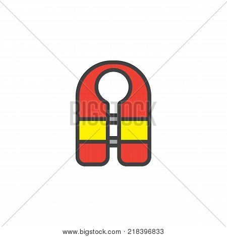 Guard vest filled outline icon, line vector sign, linear colorful pictogram isolated on white. Life jacket symbol, logo illustration. Pixel perfect vector graphics