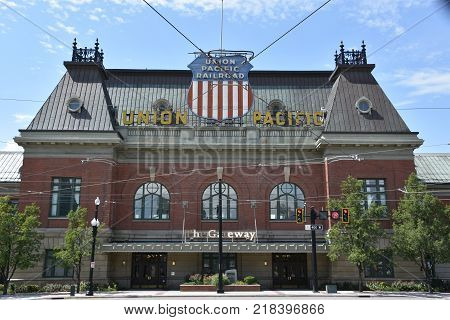 SALT LAKE CITY, UT - AUG 30: The Gateway in Salt Lake City, Utah, as seen on Aug 30, 2017. It is a large, open-air retail, residential, and office complex.