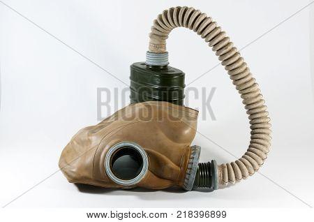 Vintage European gas mask isolated on white